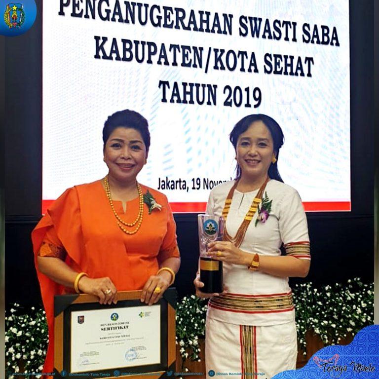 Kabupaten Tana Toraja mendapatkan penghargaan Kabupaten Sehat Swasti Saba kategori Wistara