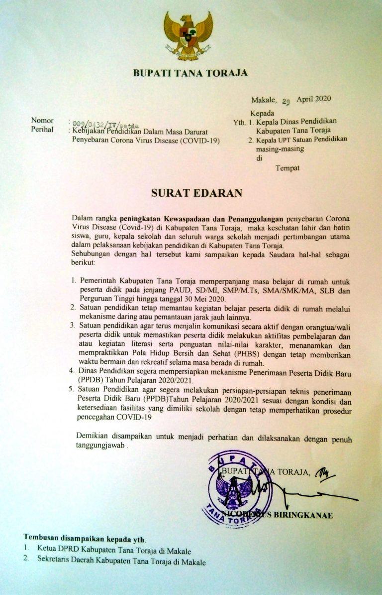 Bupati Tana Toraja keluarkan Edaran Soal Kebijakan Pendidikan Dalam Masa Darurat Penyebaran COVID-19