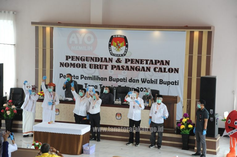 Rapat Pleno Penetapan Nomor Urut Tiga Paslon Pilkada Tana Toraja Menerapkan Protokol Kesehatan Covid-19