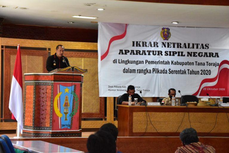 Pjs Bupati Tana Toraja Pimpin Ikrar Netralitas ASN dalam Pilkada Serentak 2020