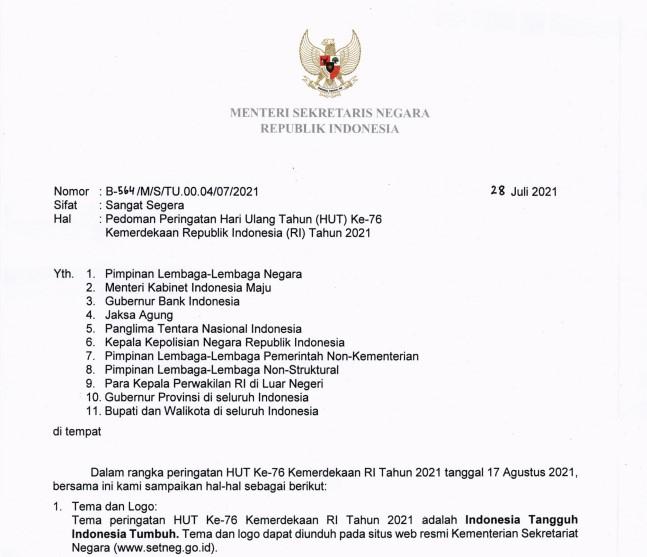 Pedoman Peringatan HUT ke-76 Kemerdekaan Republik Indonesia Tahun 2021
