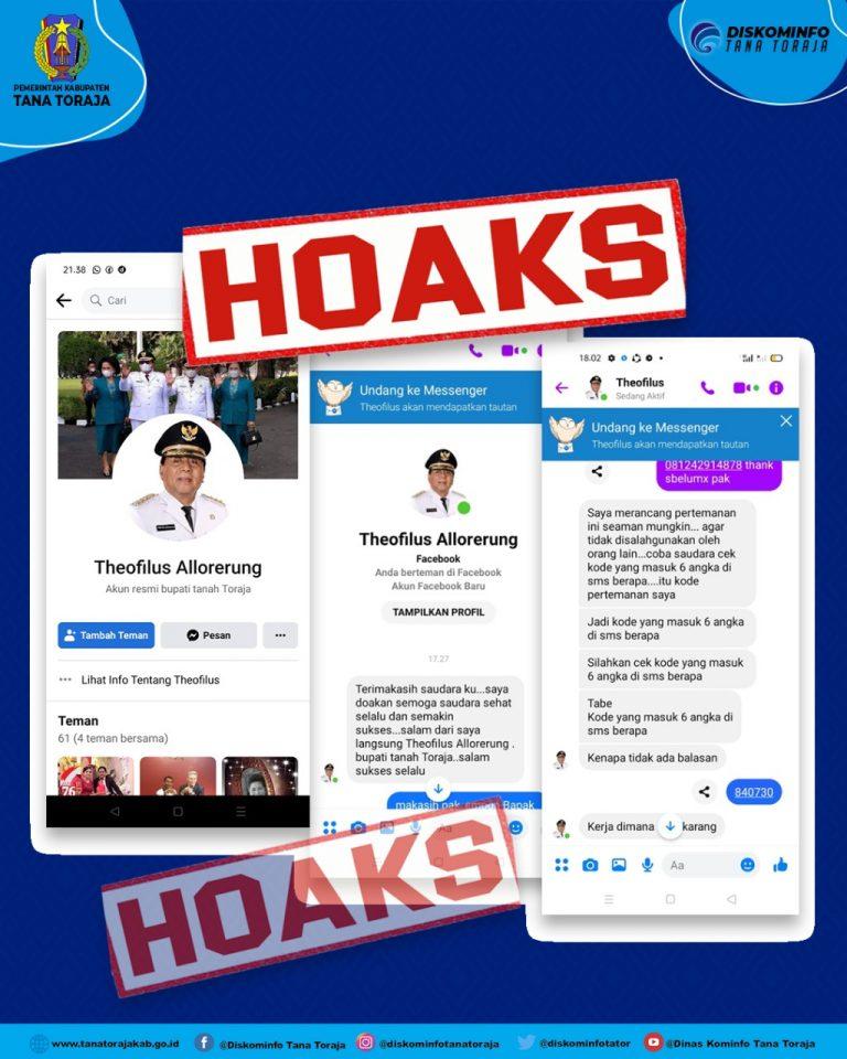 Hoaks : sebuah akun Facebook mengatasnamakan Bupati Tana Toraja