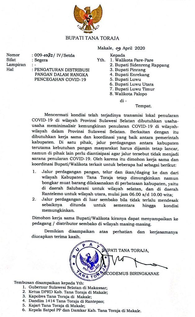 Bupati Tana Toraja Keluarkan Surat Edaran Pengaturan Jalur Perdagangan Masuk Tana Toraja