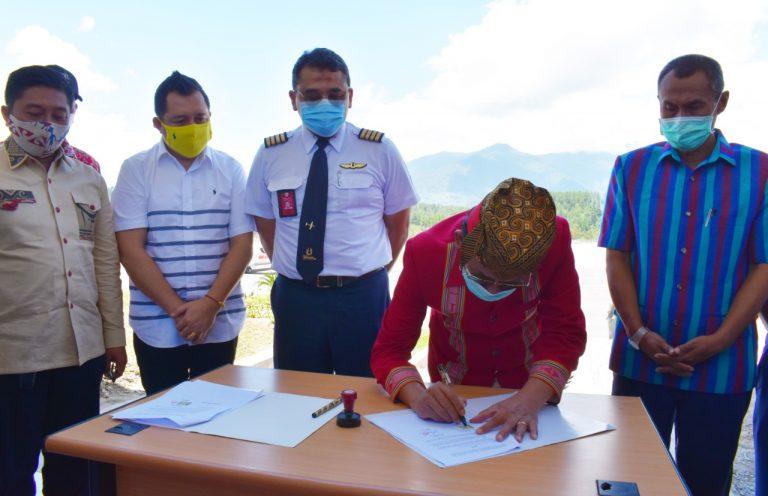 PT. Wings Abadi tanda tangan Kerjasama dengan Pemkab Tana Toraja setelah sukses uji coba penerbangan hari ini