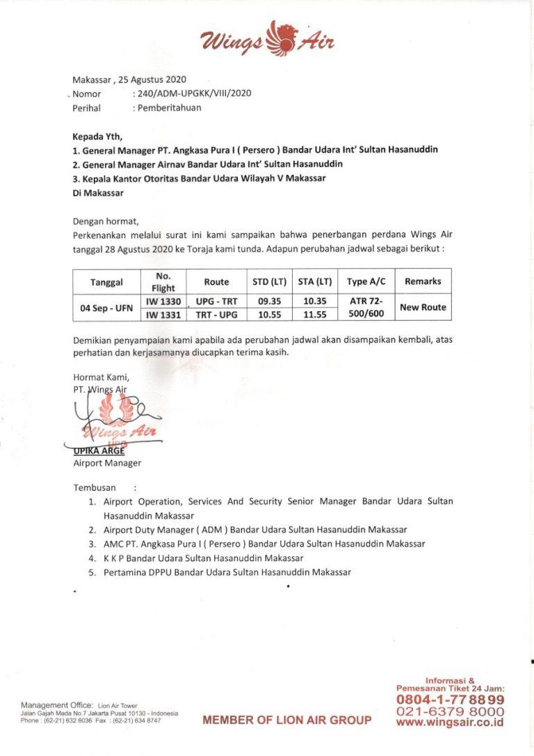 Perubahan Jadwal Penerbangan Perdana Wings Air ke Tana Toraja diundur Awal September