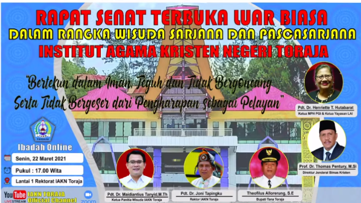 Wisuda Alumni Pertama Institut Agama Kristen Negeri (IAKN) Tana Toraja Tahun 2021