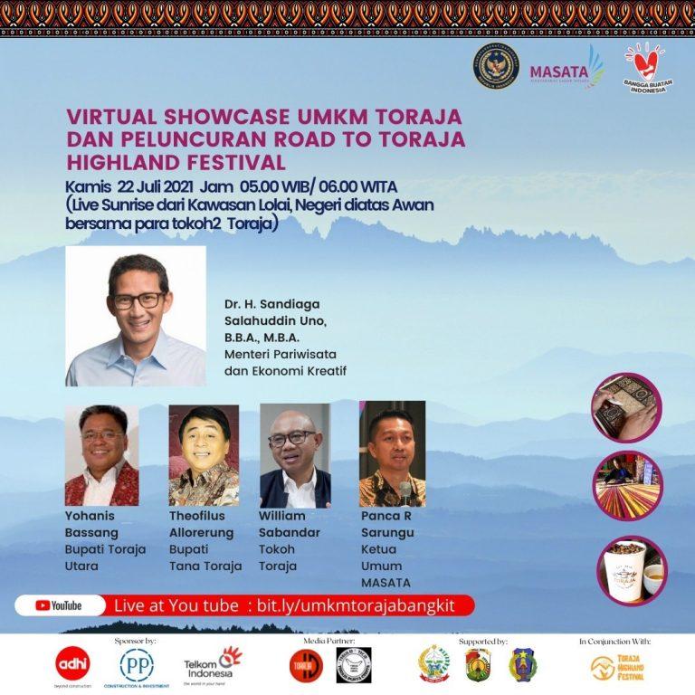 Virtual Showcase UMKM (Usaha Mikro, Kecil dan Menengah) Toraja dan Peluncuran Road to Toraja Highland Festival 2021