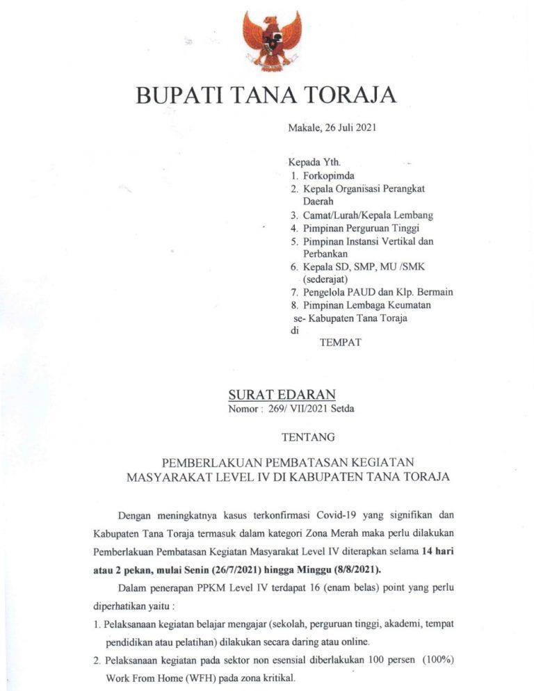 PEMBERLAKUAN PEMBATASAN KEGIATAN MASYARAKAT (PPKM) LEVEL IV DI KABUPATEN TANA TORAJA