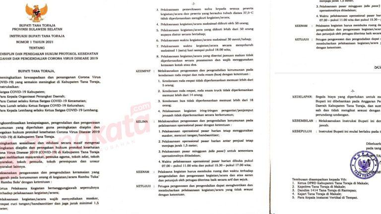 Upaya Antispasi Penyebaran Covid-19 Oleh Pemerintah Kabupaten Tana Toraja
