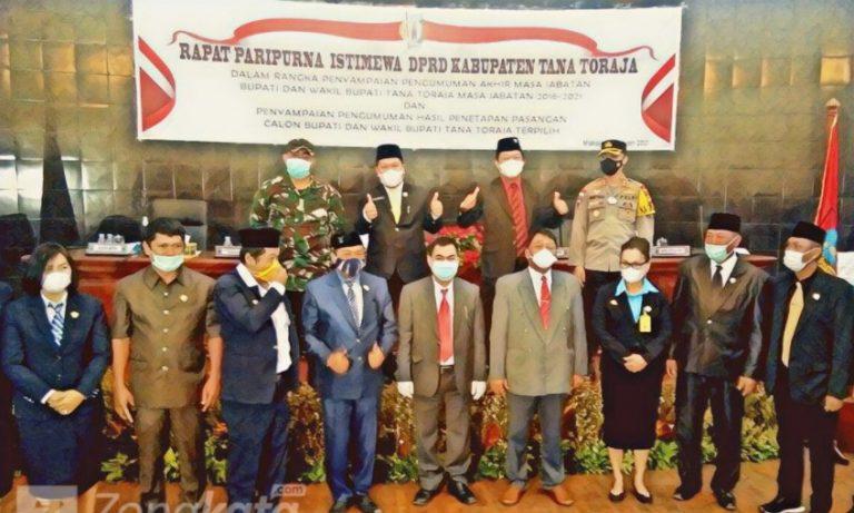 DPRD Tana Toraja menggelar Rapat Paripurna Penetapan Calon Bupati dan Wakil Bupati Terpilih